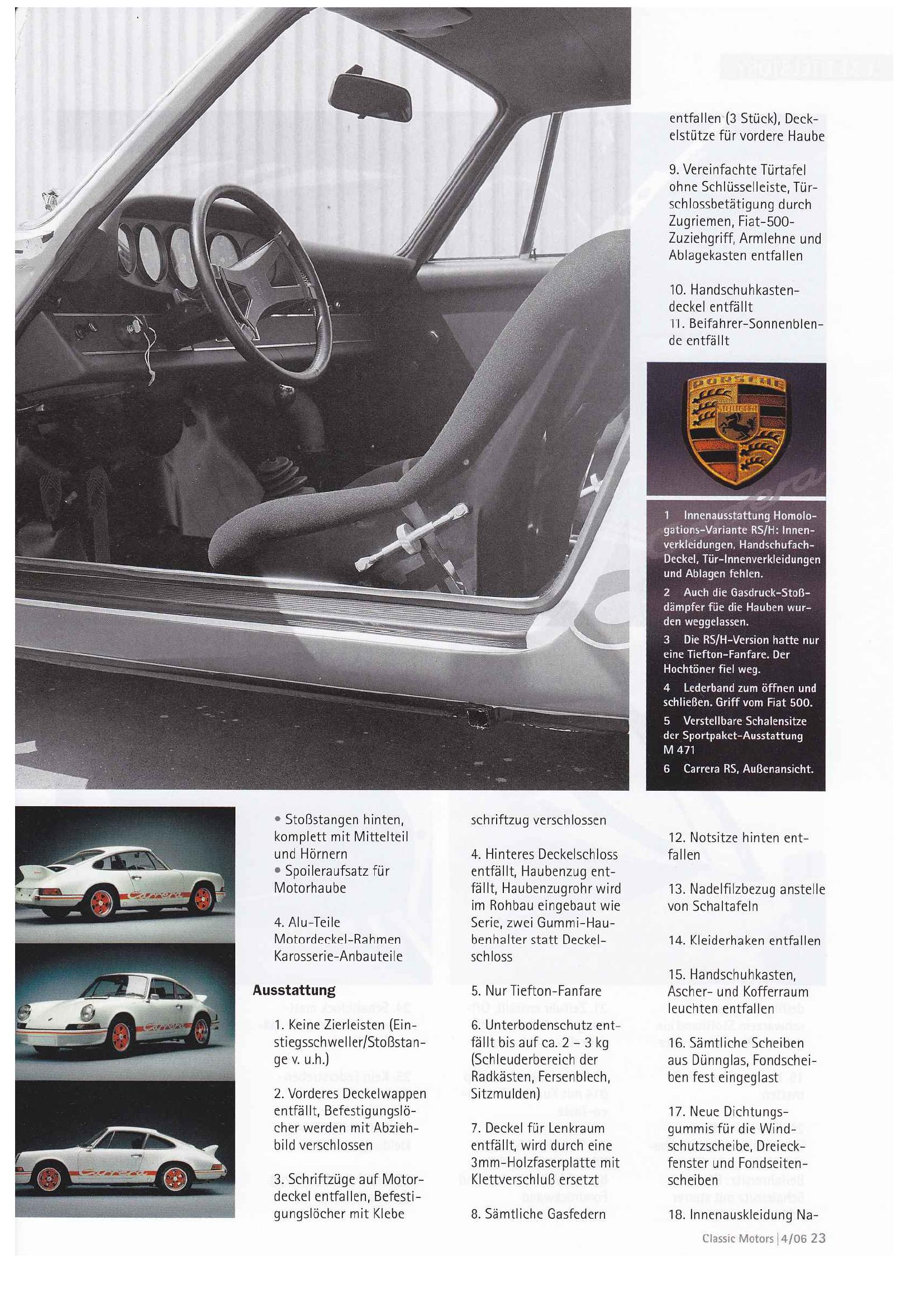Porsche 911 Carrera RS 2.7 (Classic motors mag., 04/2006, Deutsch ...